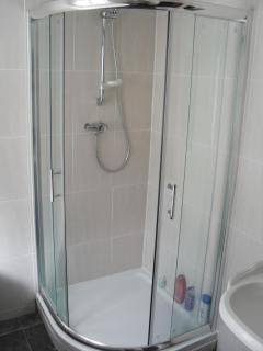 Bathroom with roll top bath shower and wc