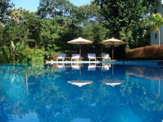 The stunning infinity edge lap pool in that the crystal clear water reflects the blue sky.