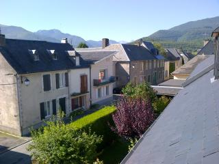 View from the bedroom over the village to the mountains beyond