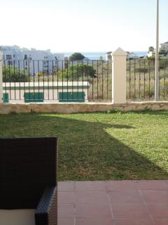 Private south facing terrace and garden with sea views