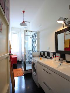 the bathroom with shower and washing machine