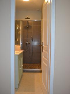 View of the bathroom from the landing in Olive Tree