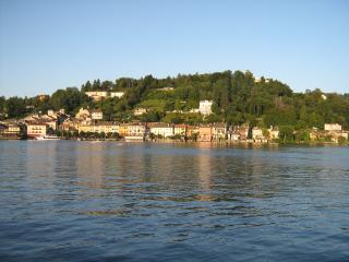View from the Villa of the mainland and the antique town of Orta where there is a garage.