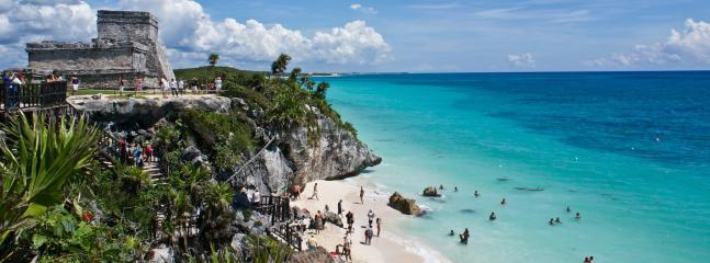 Tulum is 1.5. hr from Cancun by car. It is a MUST!