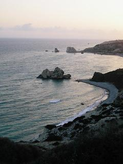View to Aphrodite's rock at sunset