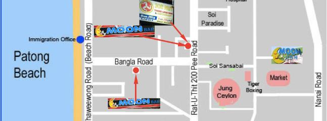Map showing the location of our bars and hotel