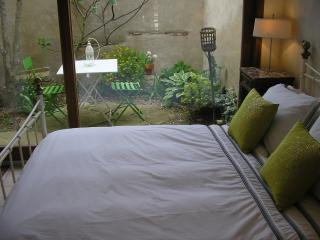 Ground floor bedroom with WC and secret courtyard garden, perfect for a table for 2