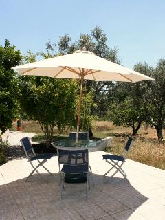 Private patio attached to one of the double bedrooms with its own bistro set!