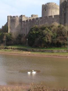 Historic town of Pembroke with its Norman castle.