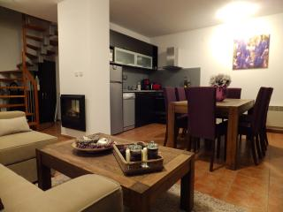 Fully equipped modern kitchen with dishwasher and dining area for 8 people