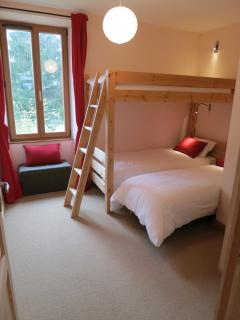 The beds in the second bedroom can be arranged as singles or a double.