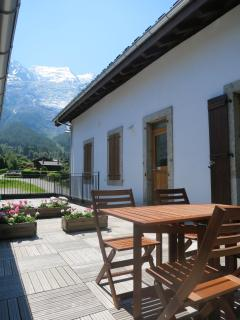 The terrace with view of Mont Blanc and Aiguille du Midi