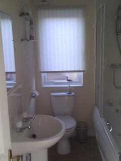 Bathroom with full size bath and shower over