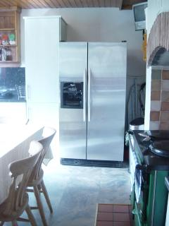 There's an ice dispenser on the American Fridge Freezer.