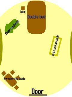 layout of Oaks yurt