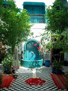 Courtyard garden and riad's fountain
