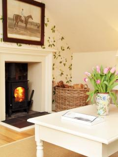 The cosy log burning stove at Stables Cottage