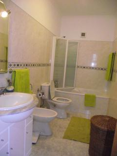 Complete bathroom with bathtub