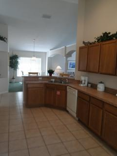 kitchen and large dining area beyond