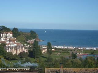 Sea and coast view from the apartment, and view of Youngs Park and steam train.