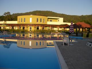 Main Pool & Restaurant at sun set
