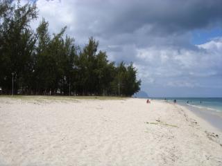 White sandy beach at Flic-en-Flac
