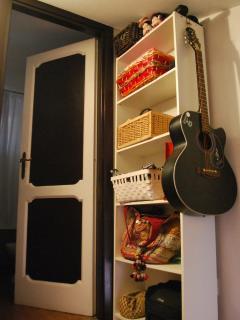 shelves near the bathroom