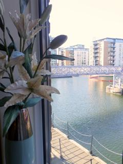 Views of the dock from windows of both bedrooms
