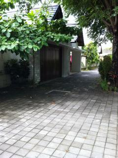 View of the laneway out the front of the villa
