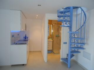 Kitchen, bathroom and feature spiral staircase