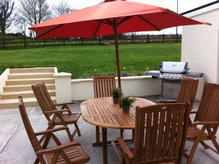 Patio table and chairs and bbq
