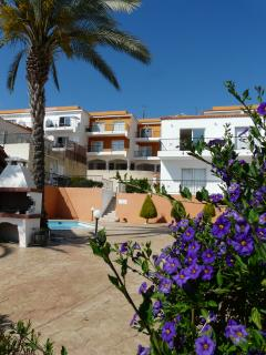 View of the apartments - ours is on the top level just to the right of the palm tree.