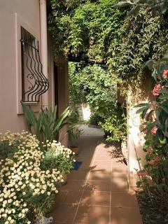 The villa is surrounded by colourful flowers and potted plants
