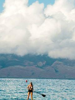 Paddling on calm Maui waters