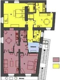Diagram: highlighted in pink apartment N. 1, highlighted in yellow apartment N. 2