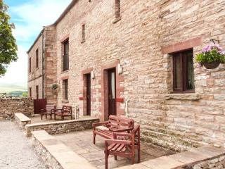 OLD BYRE COTTAGE, upside down accommodation, play area, patio, Newbiggin-on-Lune