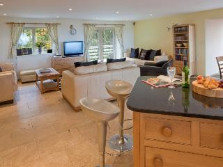 Huge, bright, light and spacious open plan kitchen/living/dining area in Woodpecker, door to balcony