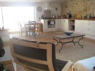 Sitting room with kitchen and sunny roof terrace