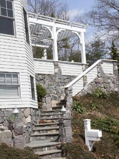Stone steps to our Pergola covered pation