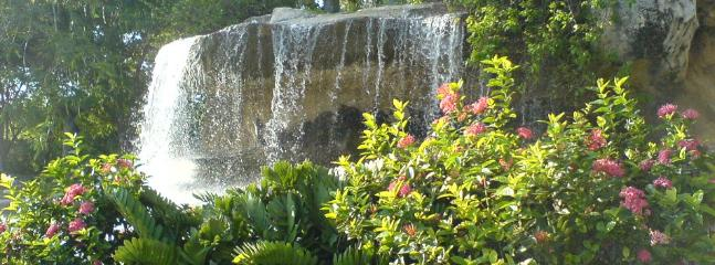 Waterfall welcoming you at the Guavaberry entrance