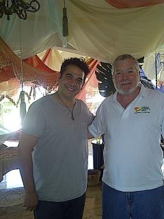 Villa owner poses with American Actor Hemky Madera during filming of his lastest movie at our villa
