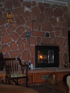 Island stone fireplace