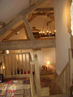 The galleried landing up amongst the beams, a chillout zone