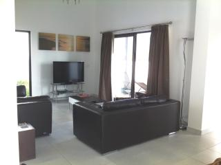 Lounge with 2 leather sofas, TV, DVD, Docking Station, etc