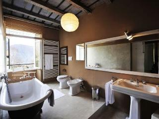 Luxury bathroom with roll top bath tub