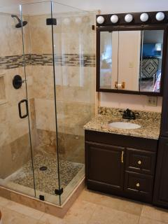 Newly renovated master bathroom.