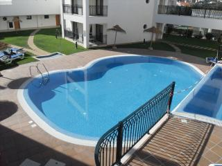 View of swimming pool from top of complex