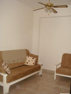 A great size sofa bed located within the living space.