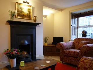 Riverside Cottage's stylish Lounge with open fireplace, wooden shutters, 32 'LCD TV &