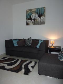 Living area with double sofa bed, cable TV & blue ray DVD player.